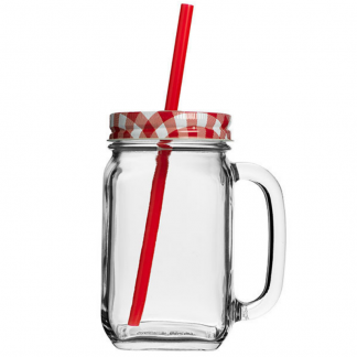 Country Drinking Jars with a lid and straw