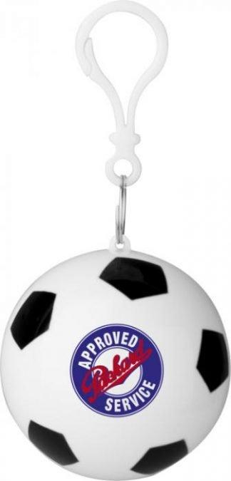 Rain poncho in storage football with keychain
