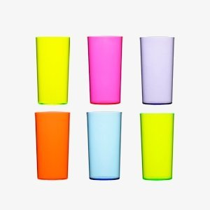 Coloured reusable hi ball plastic glasses