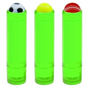 Lip balm stick topped with sports balls