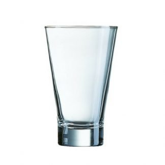 Branded v-shaped glass