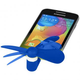 Micro USB Fan in Blue Plugged In