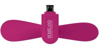 Micro USB Fan in Pink with Branding