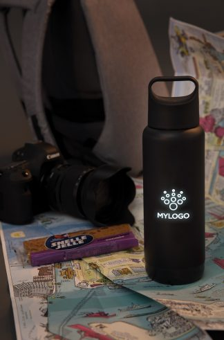 Light-Up Promotional Reusable Drinks Bottle on a Desk