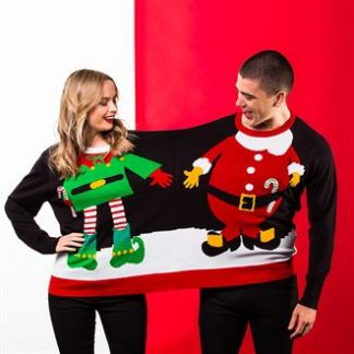Promotional Work Bestie Christmas Jumpers - Elf and Santa Clause