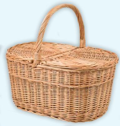 Large Oval Lidded Picnic Basket
