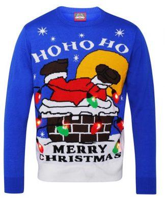 Novelty light up christmas jumper - santa in the chimney